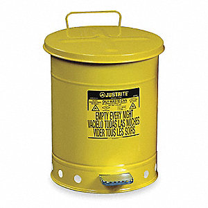 Yellow Galvanized Steel Oily Waste Can, 14 gal. Capacity, Foot Operated Self Closing Lid Type