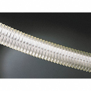 "Clear Industrial Ducting Hose, Polyether Urethane Film, 5"" Inside Dia., 25 ft. Length"
