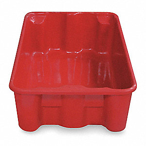 "Heavy Duty Stack and Nest Container, Fiberglass Reinforced Composite, 20-1/2"" Outside Length"