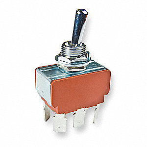 Toggle Switch, Number of Connections: 6, Switch Function: On/On, 25A @ 125/250VAC AC Contact Rating