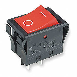 "Rocker Switch, Contact Form: DPST, Number of Connections: 4, Terminals: 0.187"" Solder Lug"