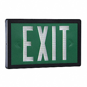 ABS Self-Luminous Exit Sign, Green Background Color, 20 yr. Life Expectancy
