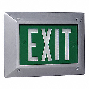 Cast Aluminum Self-Luminous Exit Sign, Green Background Color, 20 yr. Life Expectancy