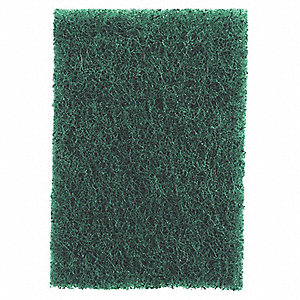 "Green, Synthetic Fiber Scouring Pad, Length 6"", Width 9"", 20 PK"