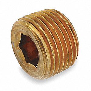 Counter Sunk Plug,Brass,3/8 In.,MNPT