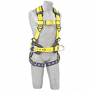 Full Body Harness,L,420 lb.,Blue/Yellow