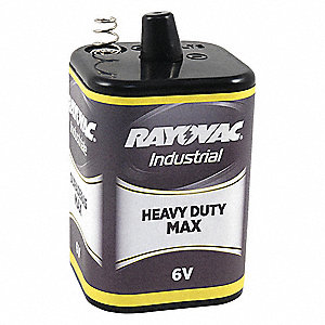 Heavy Duty Max. Heavy-Duty  Lantern Battery, Voltage 6.0, Spring Terminal Type