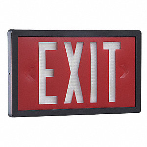 ABS Self-Luminous Exit Sign, Red Background Color, 20 yr. Life Expectancy