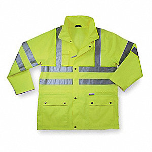 "Men's Hi-Visibility Lime Polyester Rain Jacket with Hood, Size 3XL, Fits Chest Size 54"" to 56"", 37"""