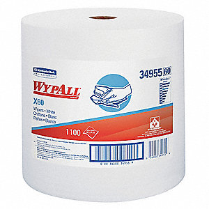 White Hydroknit(R) Wypall Wiper Rolls, Number of Sheets 1100
