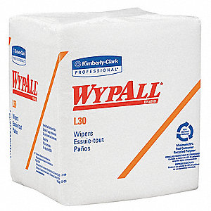 White DRC (Double Re-Creped) Disposable Wipes, Number of Sheets 90, Package Quantity 12