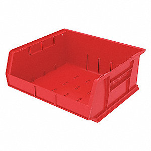 "Hang and Stack Bin, Red, 14-3/4"" Outside Length, 16-1/2"" Outside Width, 7"" Outside Height"