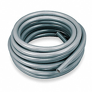 "Gray Flexible Metallic Liquid Tight Conduit, EF Series, 3/4"" Conduit Size, 50 ft. Length"