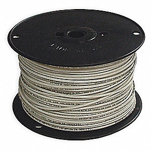 "Building Wire, White, Solid, 20 Max. Amps, 0.119"" Nominal Outside Dia."