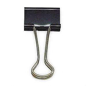 Binder Clip,1/2 In,Metal,Black,PK60