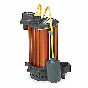 1/2 HP Submersible Sump Pump, High Temperature, Wide Angle Piggy-Back Switch Type, Nylon Base Materi