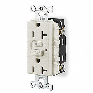 GFCI Receptacle, 20A Amps, NEMA Configuration: 5-20R, Outlet Type: Decorator, Self-Testing: No