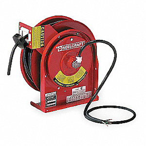 Red Retractable Cord Reel, 13 Max. Amps, Cord Ending: Flying Lead, 50 ft. Cord Length