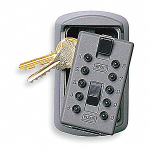 Lock Box, Push Button, 2 Key Capacity, Mounting Type: Surface