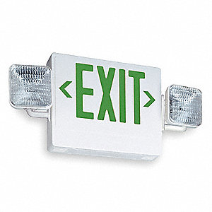 lithonia exit sign w emergency lights 5 4w grn 2xle6 ecg. Black Bedroom Furniture Sets. Home Design Ideas