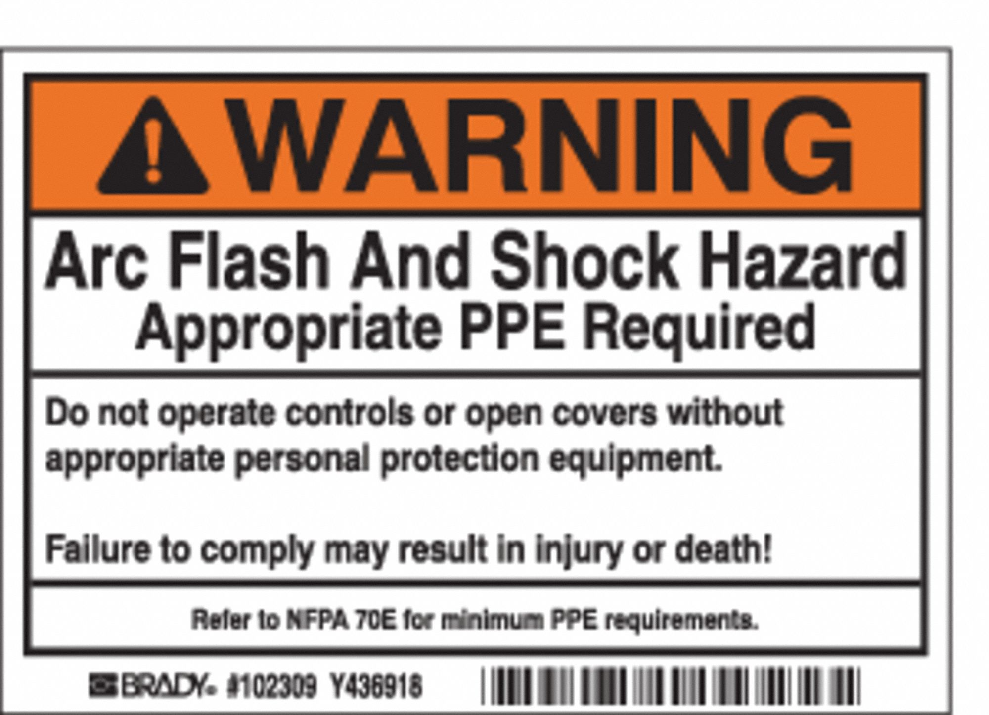 Brady arc flash protection label pk100 2xy15 102309 for Arc flash policy template