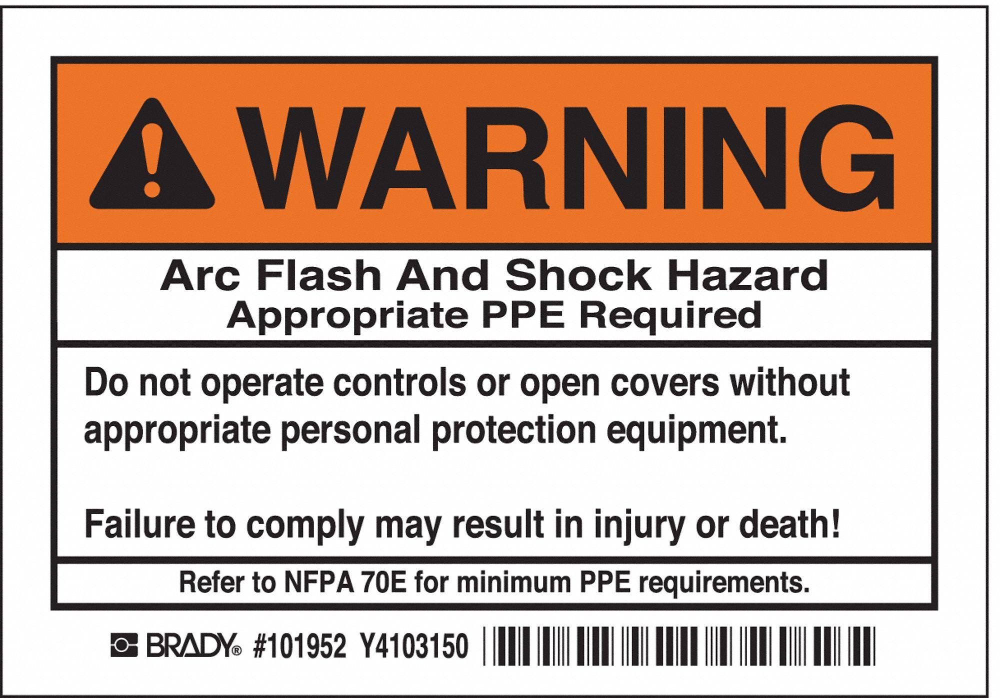 Brady Arc Flash Protection Label Instruction English
