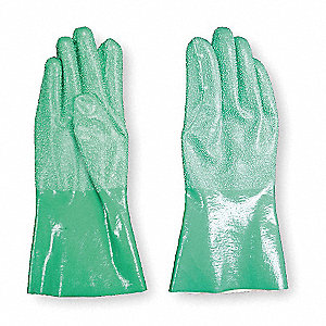 Nitrile Chemical Resistant Gloves, Standard Weight Thickness, Interlock Knit Lining, Size 10, Green