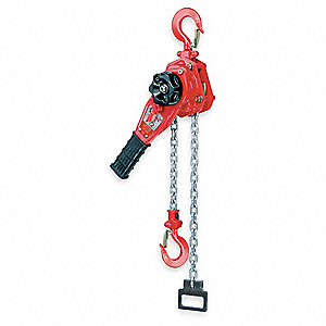 "Lever Chain Hoist, 1500 lb. Load Capacity, 10 ft. Lift, 15/16"" Hook Opening"