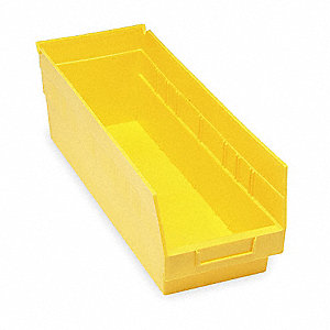 "Shelf Bin, Yellow, 17-7/8"" Outside Length, 6-5/8"" Outside Width, 6"" Outside Height"