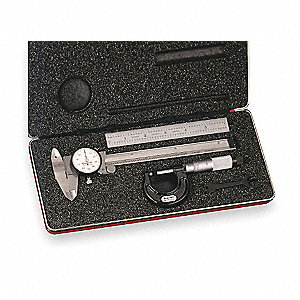 "Ratchet Thimble Basic Precision Measuring Tool Set, 0 to 1"" Micrometer Range (In./mm)"