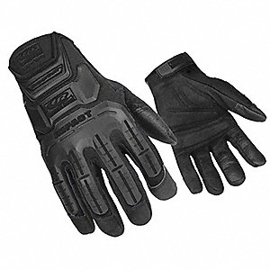 Impact Gloves, Synthetic Leather, Gel Palm Material, Stealth, XL, PR 1