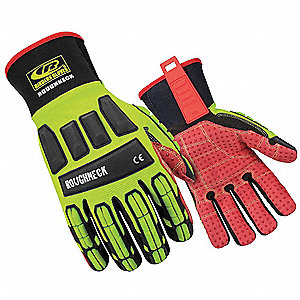 Impact Gloves, High Visibility Green, L, PR 1