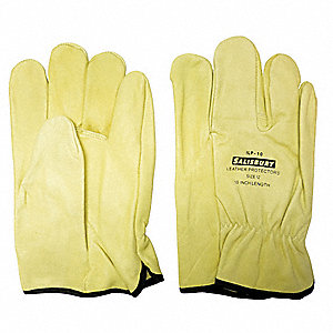 "Electrical Glove Protector, Cream, Import Cowhide, 10"" Length"