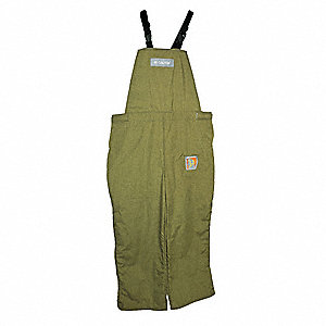 "Green Bib Overalls, Synthetic Fiber Blend, Fits Waist Size: 32"" to 34"", 29"" Inseam, 40 cal./cm2 ATPV"