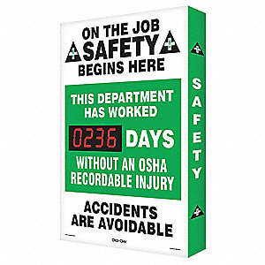 Scoreboard,Job Safety OSHA,24 x 36 In.