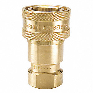 "1/2""-14 Brass Hydraulic Coupler Body, 1/2"" Body Size"