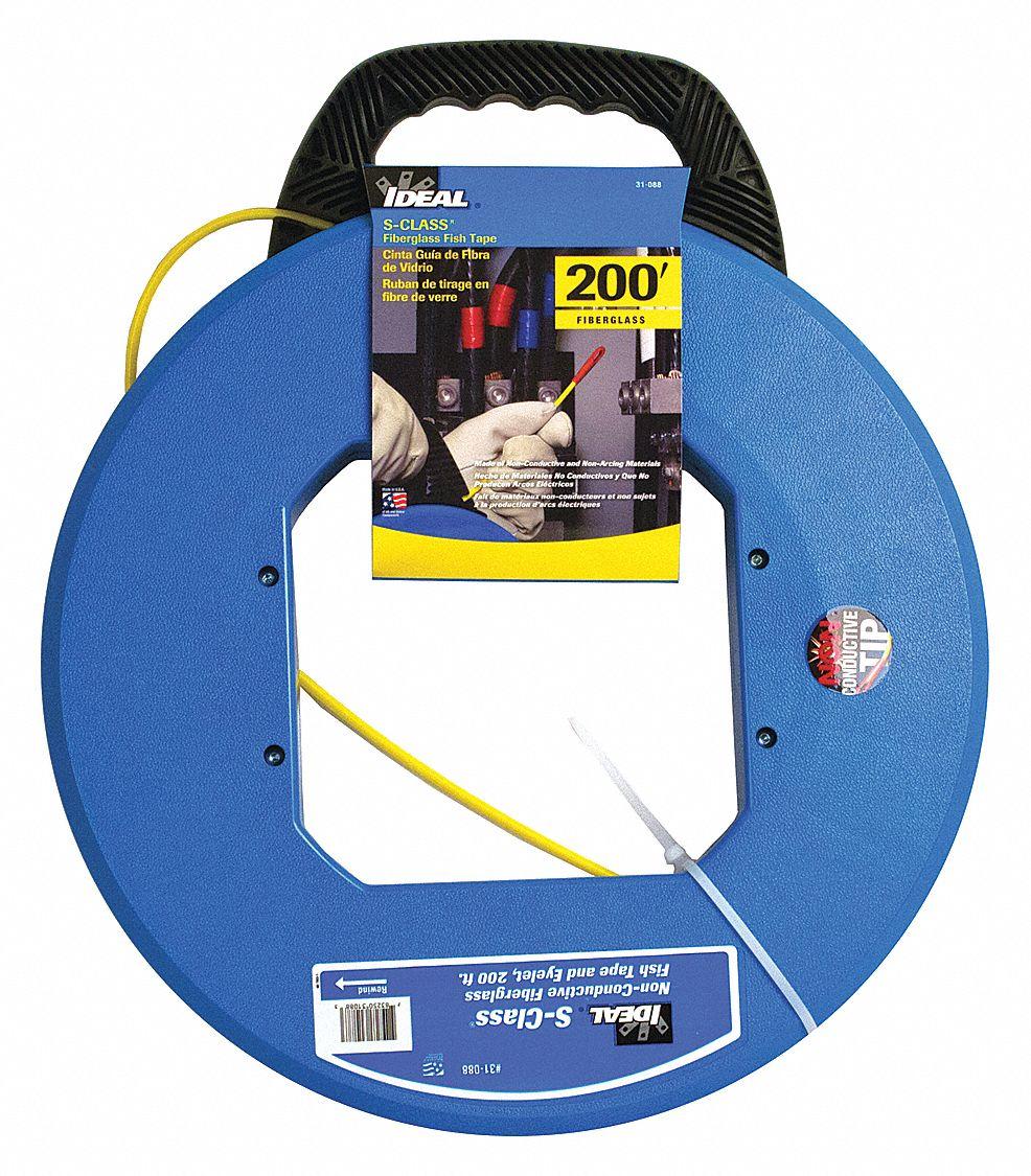 Ideal 200 ft fish tape fiberglass 3 16 tape size for Ideal fiberglass fish tape