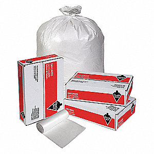 30 gal. White Trash Bags, Extra Heavy Strength Rating, Coreless Roll, 200 PK