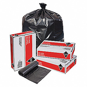 15 gal. Black Trash Bags, Light Strength Rating, Coreless Roll, 500 PK