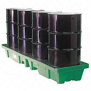 Drum Spill Containment Pallet,66gal,Grn