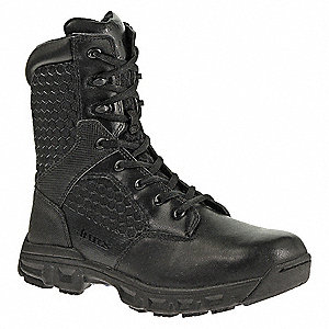 "8""H Men's Tactical Boots, Plain Toe Type, Leather / Nylon Upper Material, Black, Size 7-1/2"