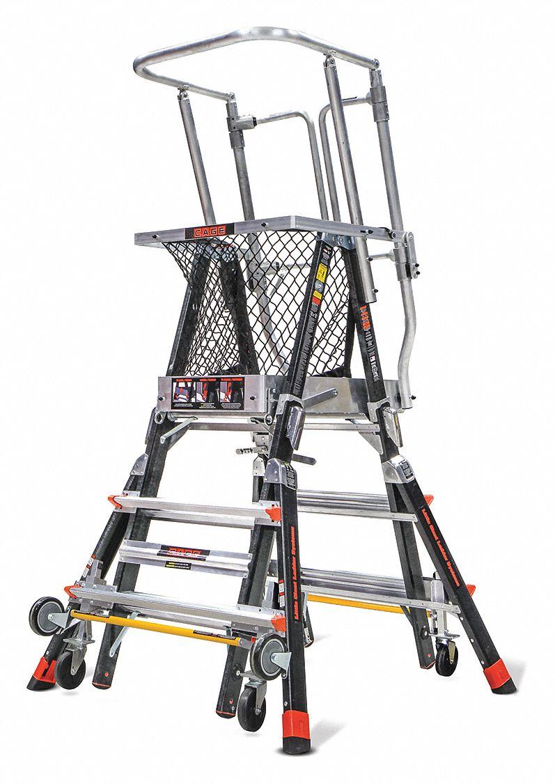 Little Giant Adj Cage Platform Ladder 5 Ft Fbrglss