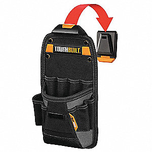 Black/Yellow Technicians Tool Pouch, Polyester, ABS Plastic