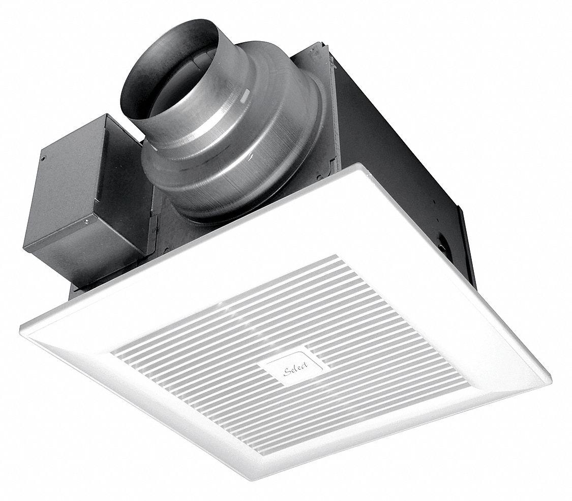 Panasonic Whisperrecessed Led Bathroom Fan With Led Light 80 Cfm: PANASONIC Bath Fan,50/80/110 CFM,0.04/0.06/0.10A