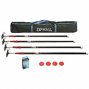 Zipwall Barrier System With 4 Steel 10 Ft Poles 32v058