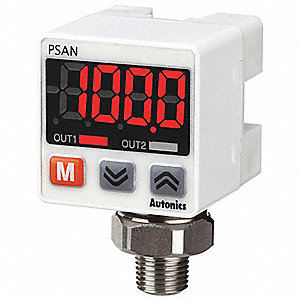 Fluid and Air Pressure Sensor, 0 to 145 psi Range, 1 to 5VDC Analog Output, Programmable