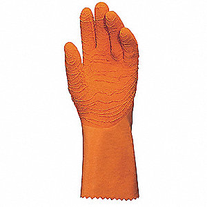 Natural Rubber Gloves,Size 10,Orange,PR