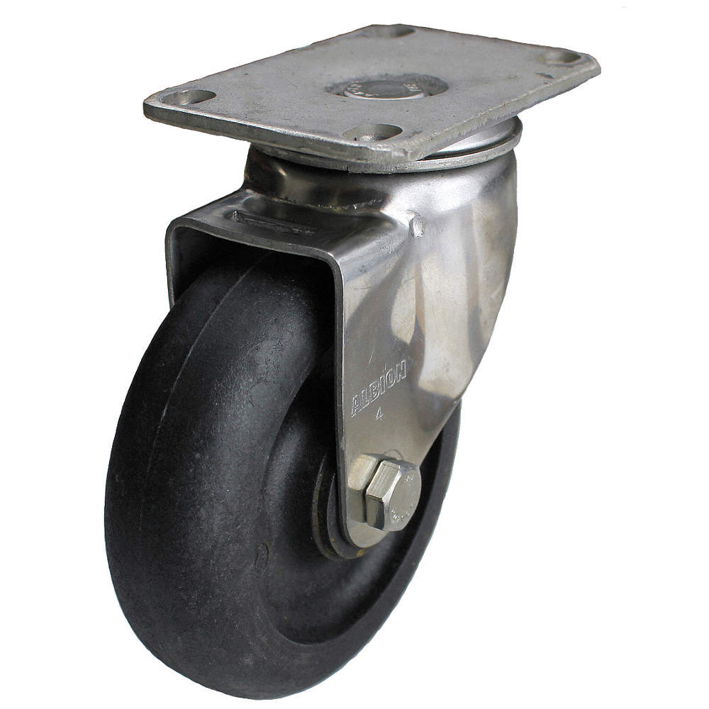 Albion 04HE05041SGN Swivel Plate Caster, 300 lb, 5 In Dia