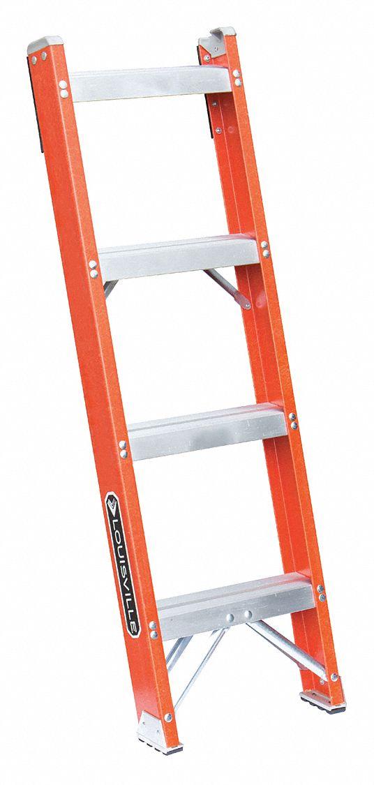 Louisville 4 Ft Fiberglass Straight Ladder 300 Lb Load