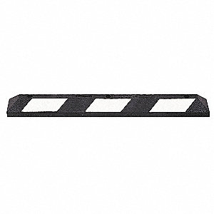 Parking Curb,36 In,Black/White,Rubber